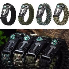 Rope Paracord Survival Bracelet Flint Fire Starter Compass Whistle Outdoor ES8P