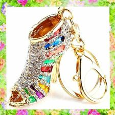 Rhinestone Crystal Rainbow Shoe Handbag Purse Charms Keychains Accessories lot