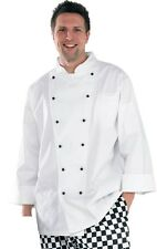 White Chefs Jacket Long Sleeve with Black Popper Detachable Buttons