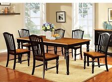 Kitchen Dining Room Modern 7pc Dining Set Wooden Top Table & Chairs Antique Oak