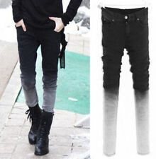New Mens Fashion pleated straight Leg Denim Casual Jeans Pants Trousers gradient