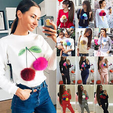 Womens Soft Plush Long Sleeve Sweater Pullover Hoodie Sweatshirt Coat Jumper Top