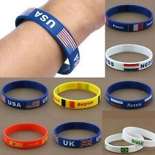 Country Flag Unisex Silicone Bracelet Rubber Sport Fashion Wristband Cuff Gift a