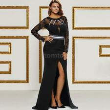 Women Lady Sheer Lace Long Sleeves Long Party Evening Gown Dress V Back E4T1