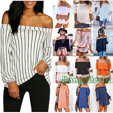 Summer Women Sexy Off The Shoulder T-Shirt Casual Loose Tops Blouse Tee UK  6-16