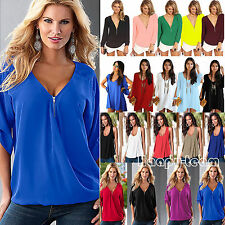 Plus Size Womens Summer Chiffon Tank Top T-shirt Ladies Casual Loose Blouse Tee