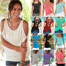 Womens Summer Off The Shoulder Short Sleeve T-Shirt Loose Casual Top Blouse Tee