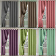 Sateen Quality Pair Of Ring Top Eyelet Fully Lined Ready Made Curtains *NEW*