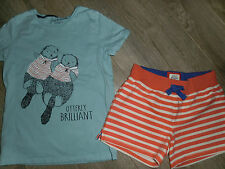 Mini Boden Otter Top and Striped Knit Shorts sz 9-10
