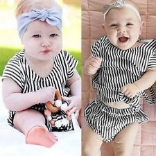 Newborn Toddler Baby Boys Girls Short Sleeve Hooded Tops+Striped Pants Outfits