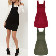 New Women Ladies Pinafore Dungaree Mini Skater Corduroy A Line Dress UK 8-14