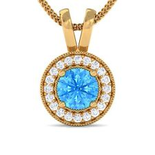 Blue Topaz GH VS Diamond Round Halo Gemstone Pendant Women 18K Yellow Gold