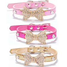 Bling Rhinestone Bow Leather Crystal Bowknot Puppy Collar Pet Dog Cat Collars
