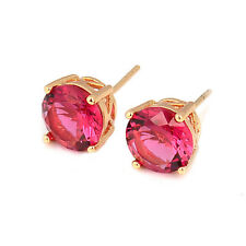 Delicate  Shiny 18K Gold Plated Round clear crystal Stud Earrings