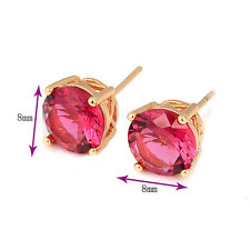 Delicate & Shiny 18K Gold Plated Round clear crystal Stud Earrings