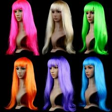 Trendy Women Long Straight Wigs Hair Cosplay Party Wigs Long Bangs 59cm Full Wig