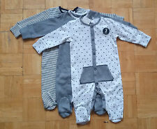 BNWT baby boys 3pk Grey Stars Fabric  Sleepsuits 0-3,12-18 months NEXT