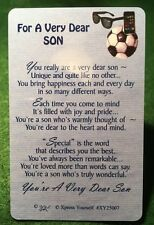 FOR A VERY DEAR SON  Wallet Card Keepsake Thinking Day Poem Gift