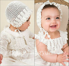 New Arrival Baby Robe Baptism Dresses White Ivory With Bonnet Christening Gowns