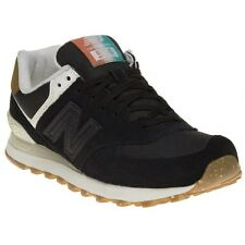 New Womens New Balance Black 574 Suede Trainers Retro Lace Up