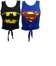 WOMENS LADIES SUPERMAN BATMAN LOGO PRINTED CAP SLEEVE CROP TOP COMIC T SHIRT TOP