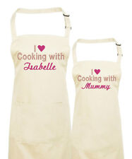 Personalised Matching Mother and Daughter embroidered Aprons, Mother's Day