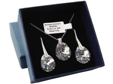 925 Sterling Silver Set made with Swarovski Crystals - Mini Pear 12mm