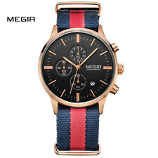 MEGIR Casual Chronograph Waterproof Quartz Watch Men Canvas Strap Wristwatch