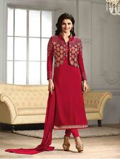 Bollywood Party Wear Designer Red Semi Stitched Georgette Salwar Suit