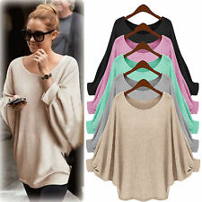 Womens Plus Size Long Bat Sleeves Pullover Batwing Loose Baggy Loose Tops Jumper