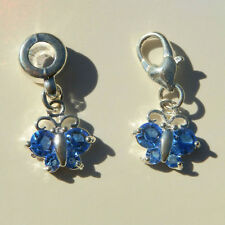 EUROPEAN OR LOBSTER CLASP STYLE BLUE CRYSTAL BUTTERFLY DANGLE BRACELET CHARMS