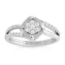 0.16ct IJ SI Natural Round Diamond Women Cluster Sparkling Ring 14K White Gold