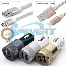 Heavy Duty USB Data Cable+Dual Port Car Charger Adapter f Samsung Android iPhone