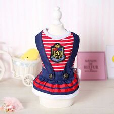 Pet Small Dog Cat Striped Clothes Puppy Princess Party Dress Skirt Apparel XS-XL