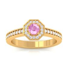 Pink Sapphire FG SI2 Gemstone Diamond Engagement Ring Women 18K Yellow Gold