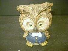 VINTAGE OWL PIGGY BANK COIN BANK CERAMIC BOW TIE & VEST (44)