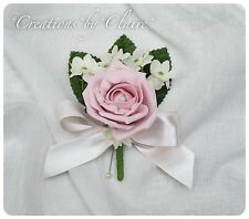 Single / Double Vintage Pink Buttonhole Wedding Flowers Artificial