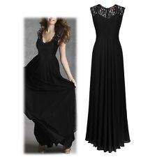Women's Sleeveless Lace Formal Party Cocktail Long Maxi Dress Wedding Gown Dress