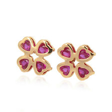 Delicate Clover 18K yellow Gold Filled Colorful Heart CZ Stud Earring