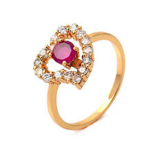 18K yellow Gold Filled Garnet Round CZ Promise Love Band Ring Delicate New