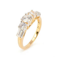 Gorgeous Five Stone White Gold Plated Clear Round crystal Promise Love Band Ring