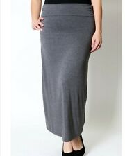 PLUS SIZE Charcoal Maxi Skirt New Jersey Knit Stretch Wide Waistband 1X 2X 3X