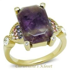 Women's Emerald Cut Amethyst Crystal Gold Plated Stainless Steel Ring Size 5-9