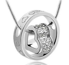 Women Fashion Charm Jewelry Heart Crystal Ring Pendant Chain Necklace Silver