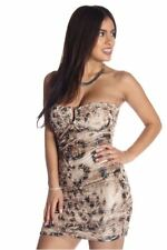 121AVENUE Sexy Strapless Animal Print Dress S L Small Large Women Brown