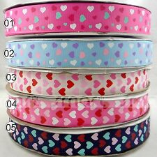 "1""25mm Mixed Valentine Heart Design Grosgrain Ribbon Craft Sewing 5 Yards"