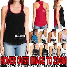 Ladies PRESHRUNK Cotton Blend 2 Tone Racerback Tank Top T-Shirt Junior Cut XS-2X