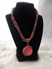 BOHEMIAN STATEMENT NECKLACES AGATE GEMSTONE EXTENSION RED GREEN BLUE PINK BLACK