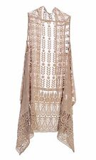Women's 100% Silk Embroidered Asymmetric Long Drape See-Through Vest_ Champagne