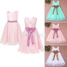 Flower Girl Baby Sequins Princess Dress Party Wedding Tulle Gown Formal Dresses